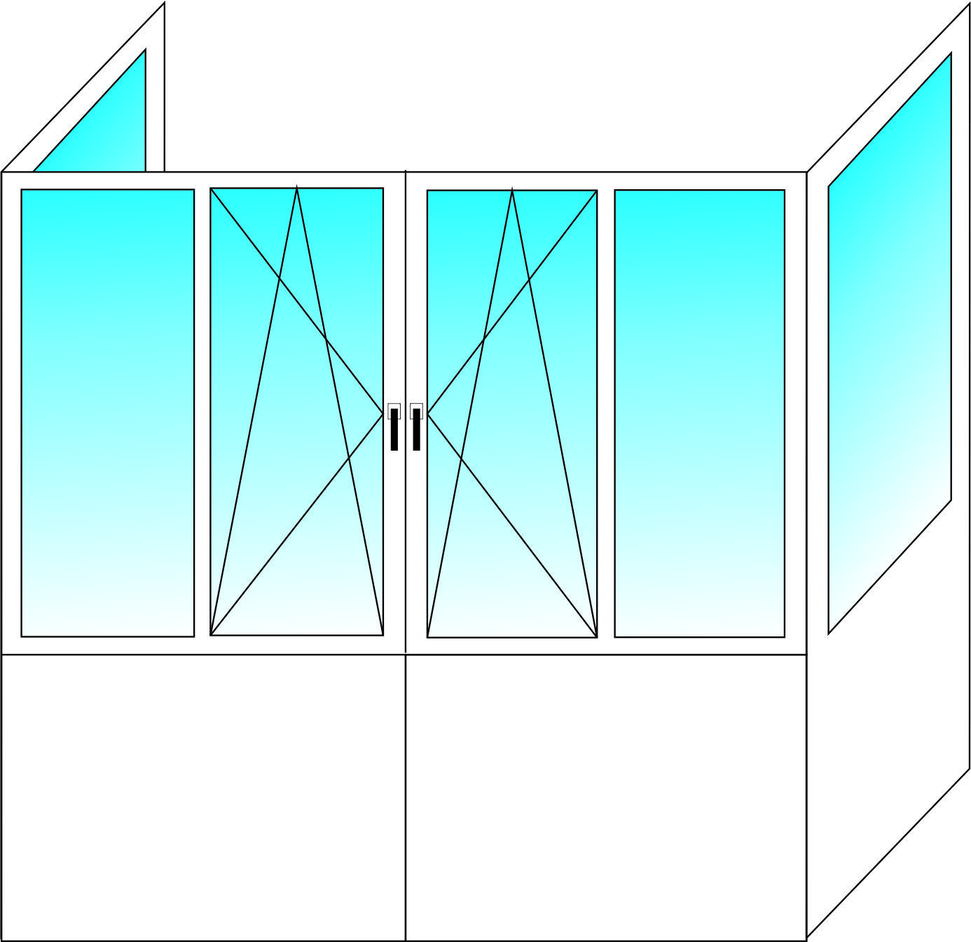 Французский балкон WDS 300 3-х камерный профиль с двухкмаерным энергосберегающим стеклопакетом 2650х3100х800 мм