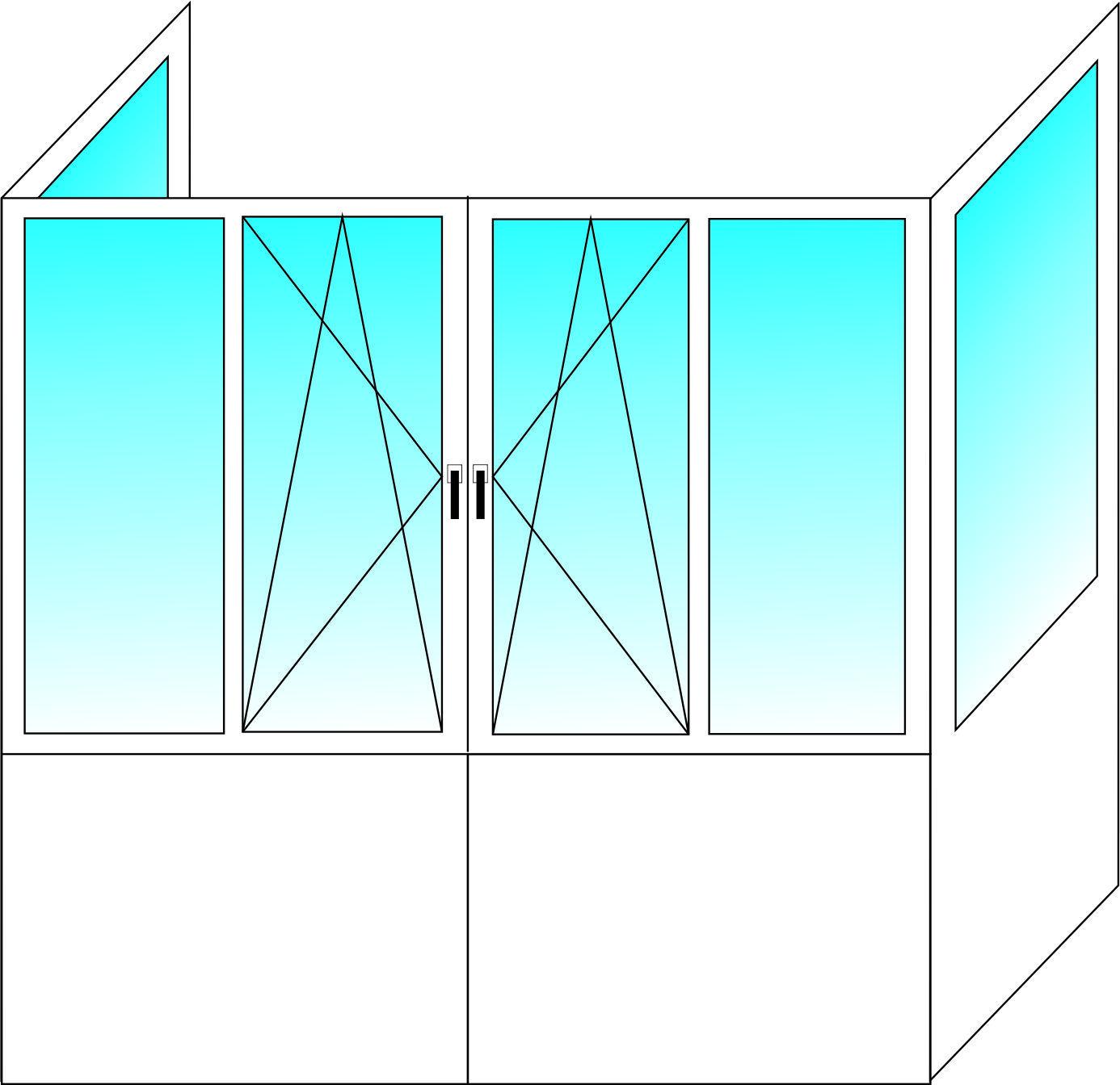 Французский балкон ALUPLAST 5-ти камерный профиль с однокамерным стеклопакетом 2550х3100х850 мм
