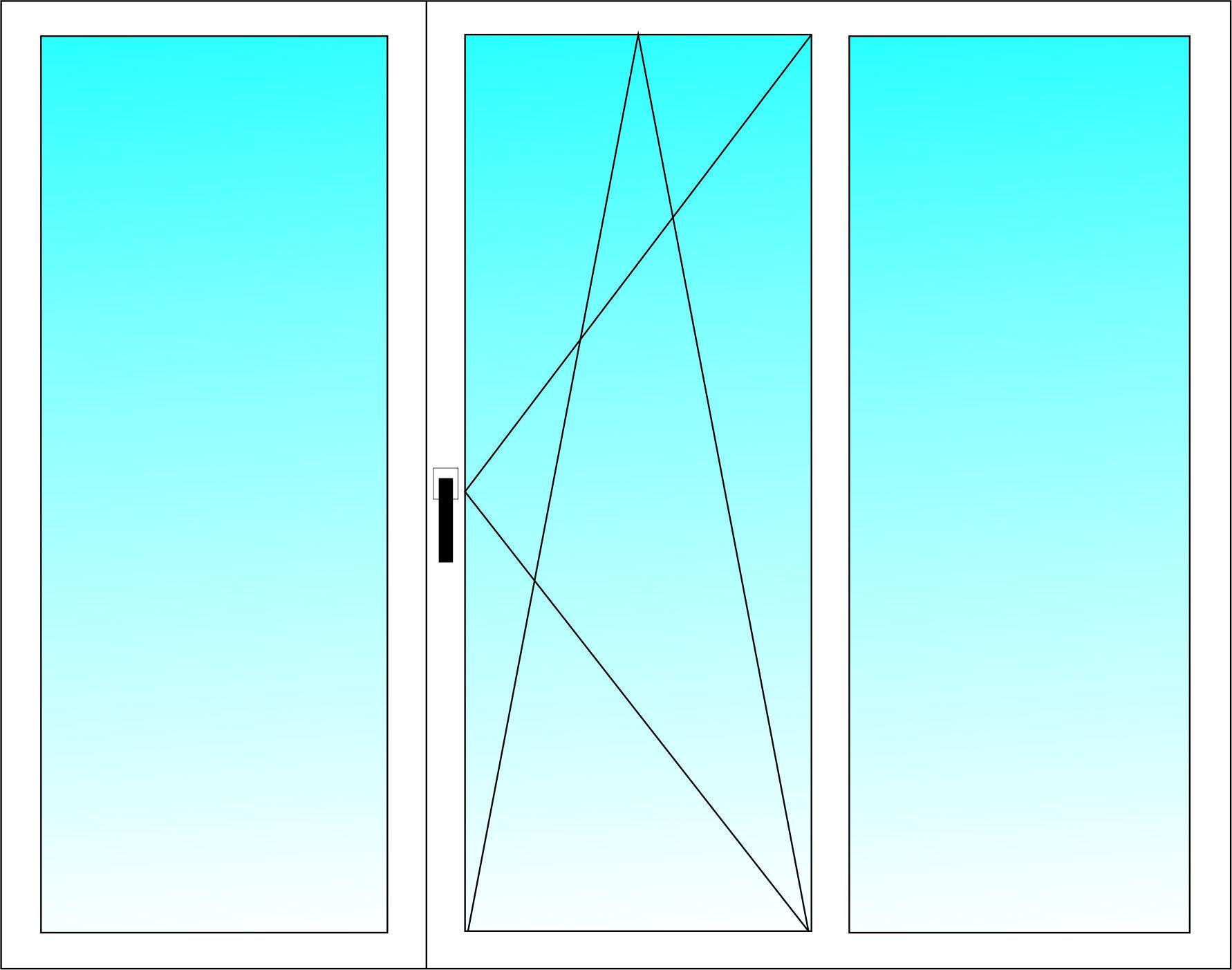 Окно трёхстворчатое ALUPLAST 5-ти камерный профиль с однокамерным энергосберегающим стеклопакетом 1350х1700 мм