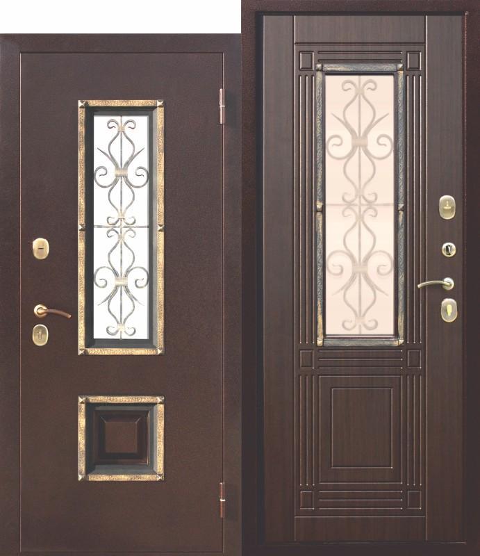 Входная металлическая дверь со стеклопакетом, Венеция Венге