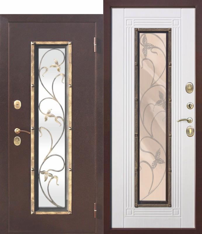 Входная металлическая дверь со стеклопакетом, Плющ Белый ясень