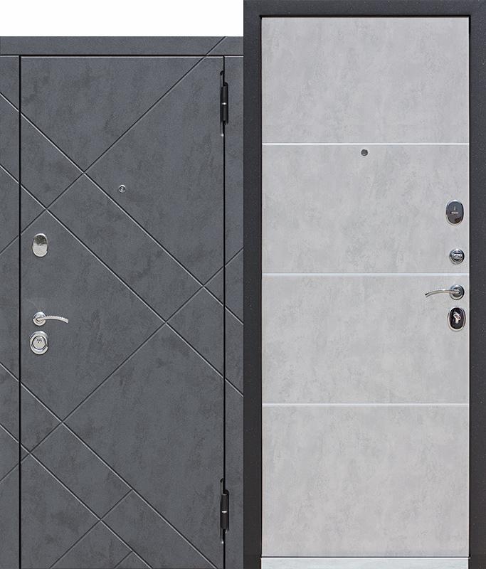 Входная дверь 9 см БРУКЛИН, Бетон графит / Бетон пепельный